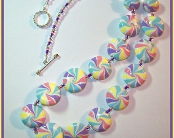 Necklace 22 in. Pastel Swirl Beads Polymer Clay Hand Crafted Pink Lavender Blue Yellow White - Toggle Clasp