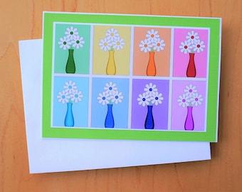 Daisy art card, Colorful Daisies card, Card for Her, Card for Gardener, Flower card, Flower Art Card, Daisy Card, Pretty Daisy Card,