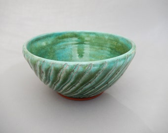 Green Pottery Mixing Bowl, Small Seafoam Green Ceramic Bowl