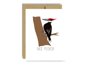 Funny valentines day nice pecker - wood pecker naughty love for man boyfriend husband white kraft silly funny
