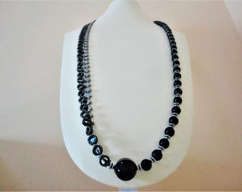 Long Black Onyx Necklace with Silver Hematite. Onyx Necklace. Hematite Necklace. Cross Necklace. Gray Grey Necklace. Long Statement Necklace
