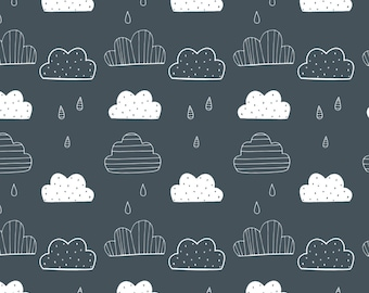 Rain Clouds on Stormy Grey ~ Amne Organic Jersey Knit Fabric ~ Weave and Woven