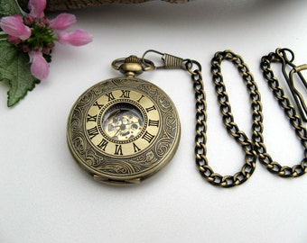 Personalized Engraved Bronze Pocket Watch, Watch chain, Wedding, Groomsmen Gift, Engraved view window - Gift boxed - Item MPW641ac
