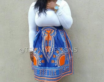 Blue Dashiki skirt, African print skirt, African fabric, African clothing, women clothing, African dress,blue and orange