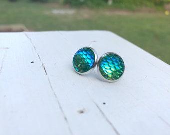 12 mm Mermaid Earrings - Blue Green Scale Earrings - Mermaid Scale Earrings - Sparkly Earrings