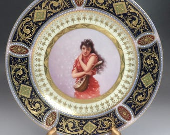 Antique Royal Vienna Hand Painted Girl Playing Mandolin Cabinet Plate