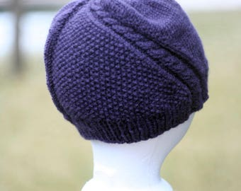 The Road Less Traveled Hand Knit Purple Hat