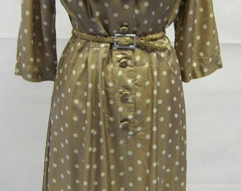 Vintage 1940s Susan Small Coffee & Cream Polka Dot Day Dress Size 12