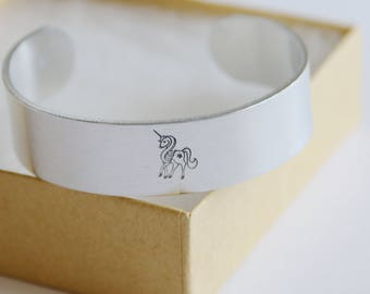 Unicorn Cuff Bracelet, Believed Bracelet Hand Stamped Jewelry, Friendship Gift, Aluminum, Thick Bracelet, Best Friend, Unicorn Gift