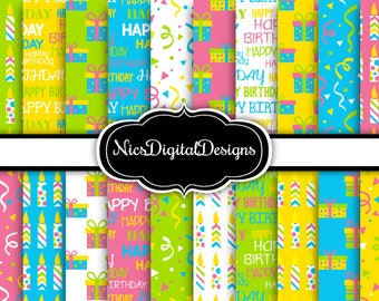 20 Digital Papers. Birthday Papers in Green Blue Yellow Pink (2F no 4) for Personal Use and Small Commercial Use Scrapbooking