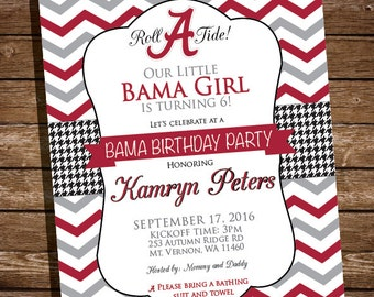 Alabama Bama Birthday Party Invitation Roll Tide - Printed and Printable