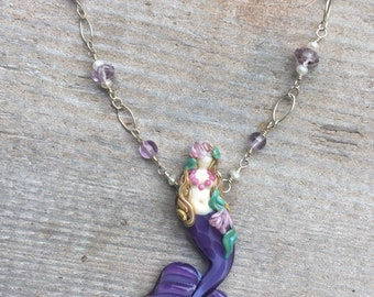 hand Sculpted Glass Mermaid Necklace