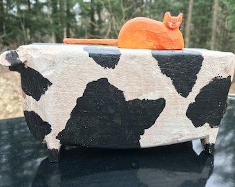 Cow and cat folk art hand carved naive hobo art made in Canada by D Purdy