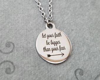 Let Your Faith Be Bigger than Your Fear Necklace SMALL Engraved Necklace Arrow Necklace Christian Necklace Christian Jewelry Faith Gift