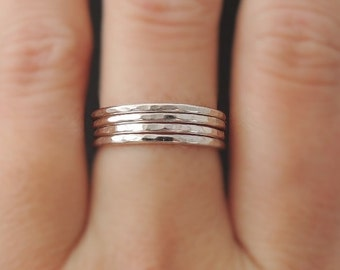 4 Stackable Rings thin silver band Sterling Silver Rings 16 gauge set of four hammered stacking rings . choose your size