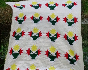 """ooak,rare-beautiful tulips in basket heirloom 1940'S handmade full/qn size quilt-98"""" x 78""""-gorgeous!"""