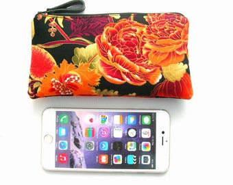 Padded iphone pouch. Large cell phone pouch. Zipped iphone pouch. Large smartphone pouch. Black and orange iphone pouch. Large phone purse
