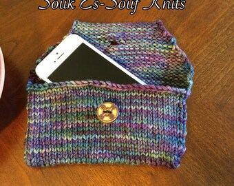 Knitted Phone Cozy, Phone Case, Phone Sleeve, Phone Cover - Fits iPhone 4, 5, 5s, 5c, iPod touch, in Blue; Seamless; Ready to Ship