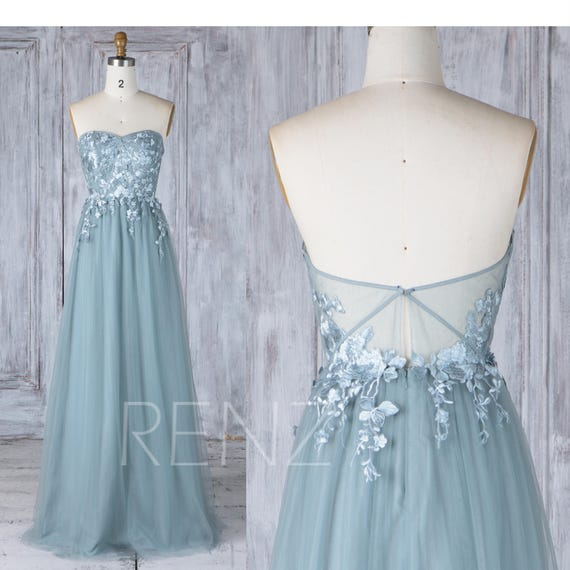 Bridesmaid Dress Dusty Blue Tulle Wedding Dress with Lace