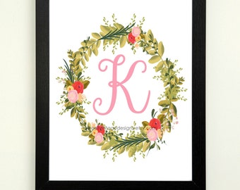 Letter K Printable, 8x10 Instant Download, Baby Girl Nursery Art, Nursery Decor, Floral Monogram, Letter Art, Baby Gift, Baby Shower Gift