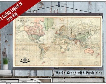 Vintage Detailed Travel Map. Large Travel Maps. 40x60 or 44x72 Hanging Map printed on Canvas. Push Pin Map. Vintage Geography.