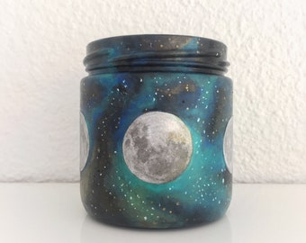 Moon Phases with Hand Painted Galaxy Candle Holder