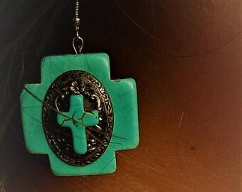 Southwest Cross Earrings, Native American style earrings, boho earring, Turquoise earrings