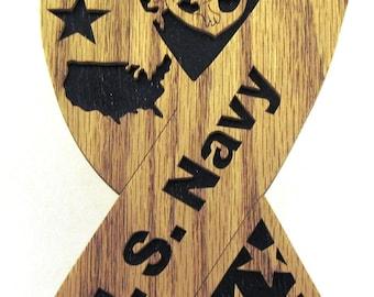 U.S. Navy ribbon scroll saw cut--6p