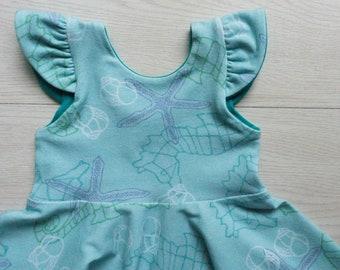 Baby girl dress - toddler dress - baby dress beach wedding - baby girl birthday - under the sea birthday - special occasion twirl dress