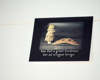 """Art Card Notecard Claudia """"Felt A Great Fondness For All Winged Things"""" Greeting Card Moth Card"""