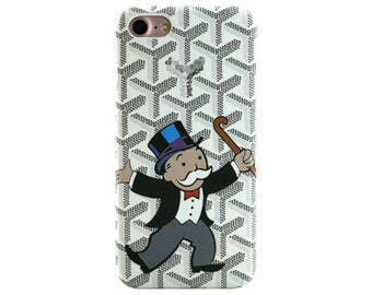 Luxury Goyard Mr.Monopoly Cartoon White Black French Paris Fashion Leather PC Case Cover Apple iphone X 8 7 plus 6 6S 6plus Matte Fundas