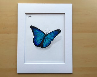Butterfly Drawing Wall Art Original Pencil Colored 11x14