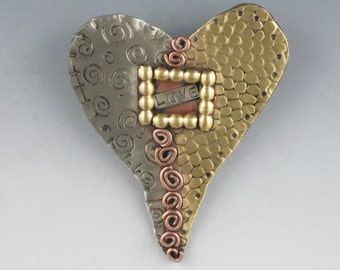 Heart Pin, Heart Necklace, Mixed Metal Heart Pin, Heart Jewelry, Valentine Jewelry RP0063PN