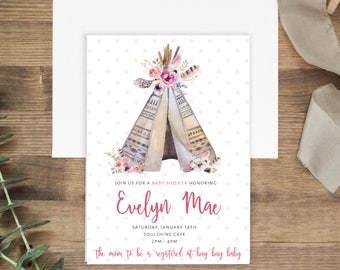 Boho Baby Shower invitation | Printable Baby Shower Invitation or Printed Invites | Baby Girl Shower Invites| Feathers | Teepee