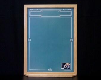 Green Southwestern Chalkboard Dry Erase Board Personalized & Framed - Large Chalkboard Whiteboard Memo Board - Message Center - Note Board
