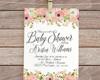 floral invite baby printable invitation baby shower invite baby shower invitation digital diy watercolor flowers invite baby girl shower 95