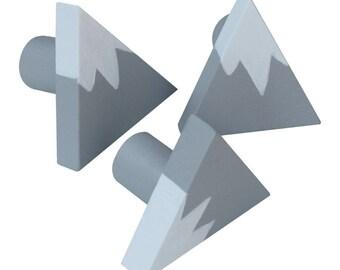 Mountain Drawer Knob - Grey (Gray) and White Mountain Drawer Pull