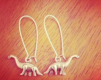silver dinosaur earrings- brontosaurus earrings