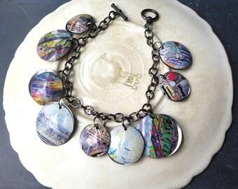 French Impressionist Tin Charm Bracelet, 10th Anniversary