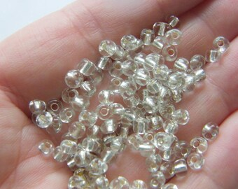 400 Clear with silver lining, glass, seed beads 4mm  SB14