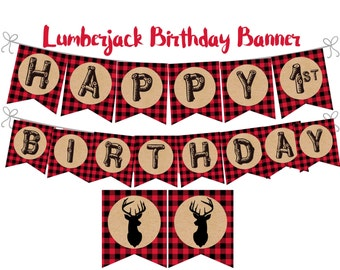 Lumberjack Birthday Banner, Lumberjack printable banner, Lumberjack Decorations, Lumberjack 1st birthday, Digital File.
