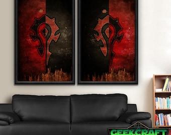 Horde, Horde Banners, Banners, Old, HS, WOW, World of Warcraft, Warcraft, Alliance, Horde, Hordes, Pandaria, Legion, World, Poster Print Set