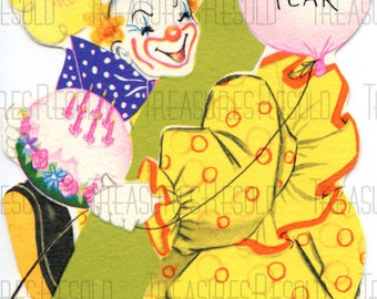 Happy Birthday 7 Year Old Clown Birthday Cake Balloon Happy Birthday Card #526 Digital Download