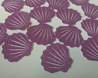 Purple Glitter Seashell Confetti,Purple Glitter Confetti,Seashell Confetti,Mermaid Party Confetti,Under The Sea Confetti,Table Confetti