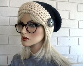 Tuque chapeau d'hiver, chapeau de Style Boho, bleu et blanc, Styles populaires de chapeau, tuque Hippie, crocheté à la main, accessoires de mode d'hiver