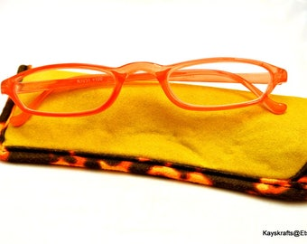 Pink Eyeglasses and Soft Yellow Eyeglass Case Vintage Eye Glasses Plastic Frame Glasses Pink Reader Glasses
