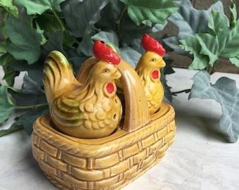 Chicken Salt & Pepper Shakers on Nest Vintage Brown Rooster / Hen Set in Ceramic Basket ~ #5855.D2241