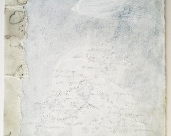 Winter White no.2 / White on White / Mixed Media Drawing with Collage and Stitching