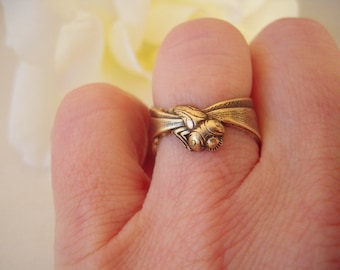 Steampunk Dragonfly Ring Adjustable Antique Brass