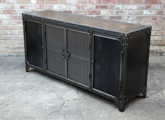 Modern industrial sideboard steel buffet cabinet kitchen for Sideboard industrial design